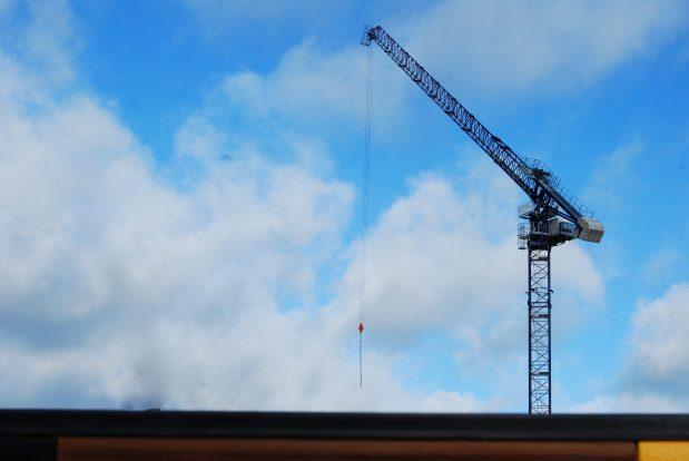 Shopping centre access during crane work