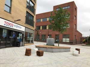 View of Tesco Express and Botley community building