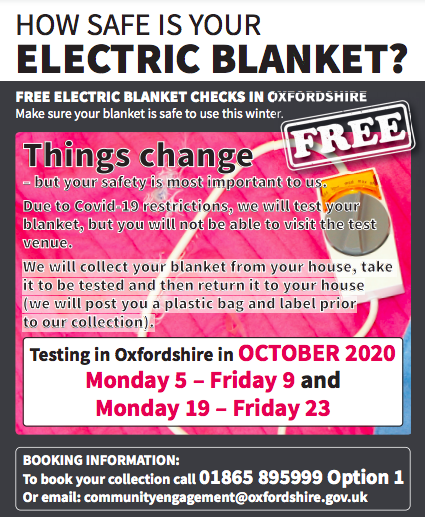 Free safety testing for electric blankets