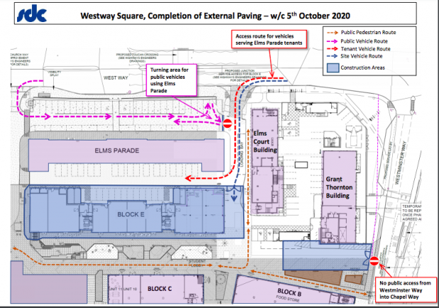 Access and parking changes to West Way Square