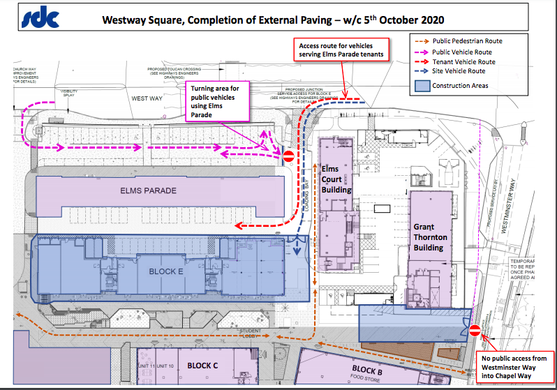 Map of West Way Square showing routes for traffic