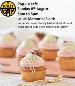 Photo of cupcakes with Botley GAP logo with text