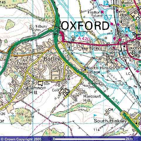 Ordnanace survey map of North Hinksey (Botley) and surrounding area.