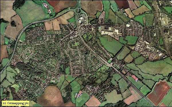Aerial map of North Hinksey (Botley) showing the A34 and A420 roads.